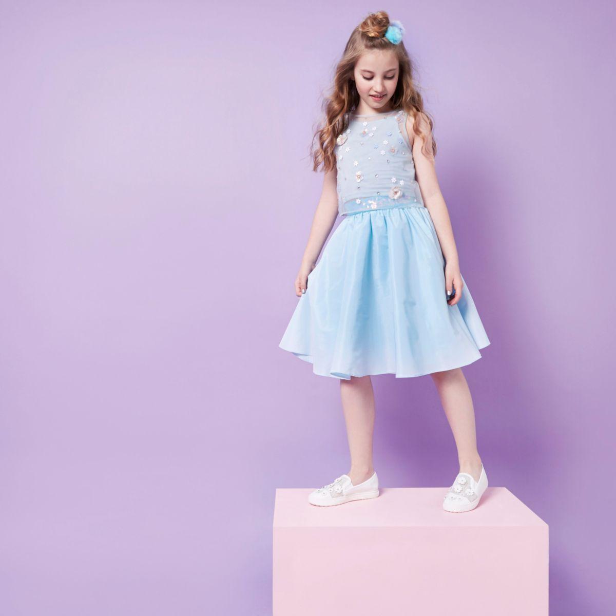 Girls RI Studio blue sequin trim prom skirt