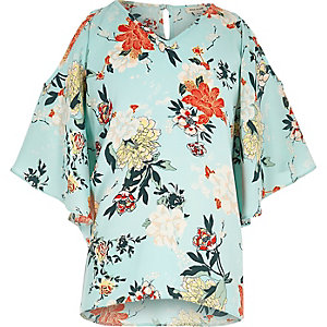 Girls light green floral print kimono top