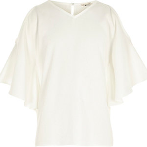 Girls cream cold shoulder kimono sleeve top