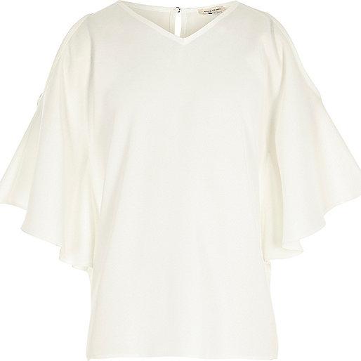 Girls cream cold shoulder kimono sleeve top