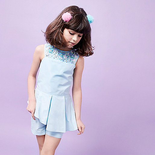 Girls RI Studio blue sequin neck playsuit