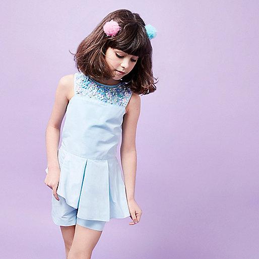 Girls RI Studio blue sequin neck romper