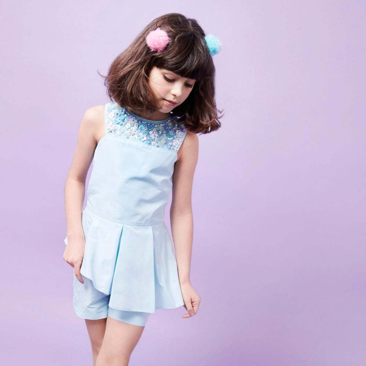 Girls RI Studio blue sequin neck romper