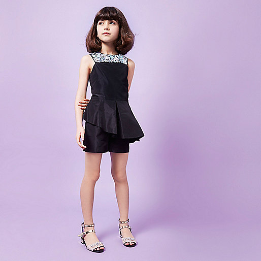 Girls RI Studio black sequin neck romper