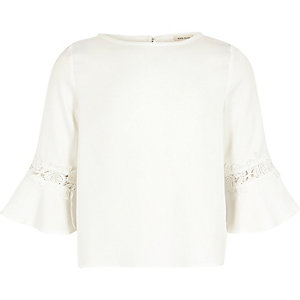 Girls white crochet flute sleeve top