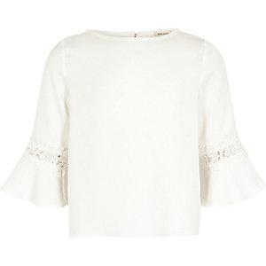 Girls white crochet flute sleeve top