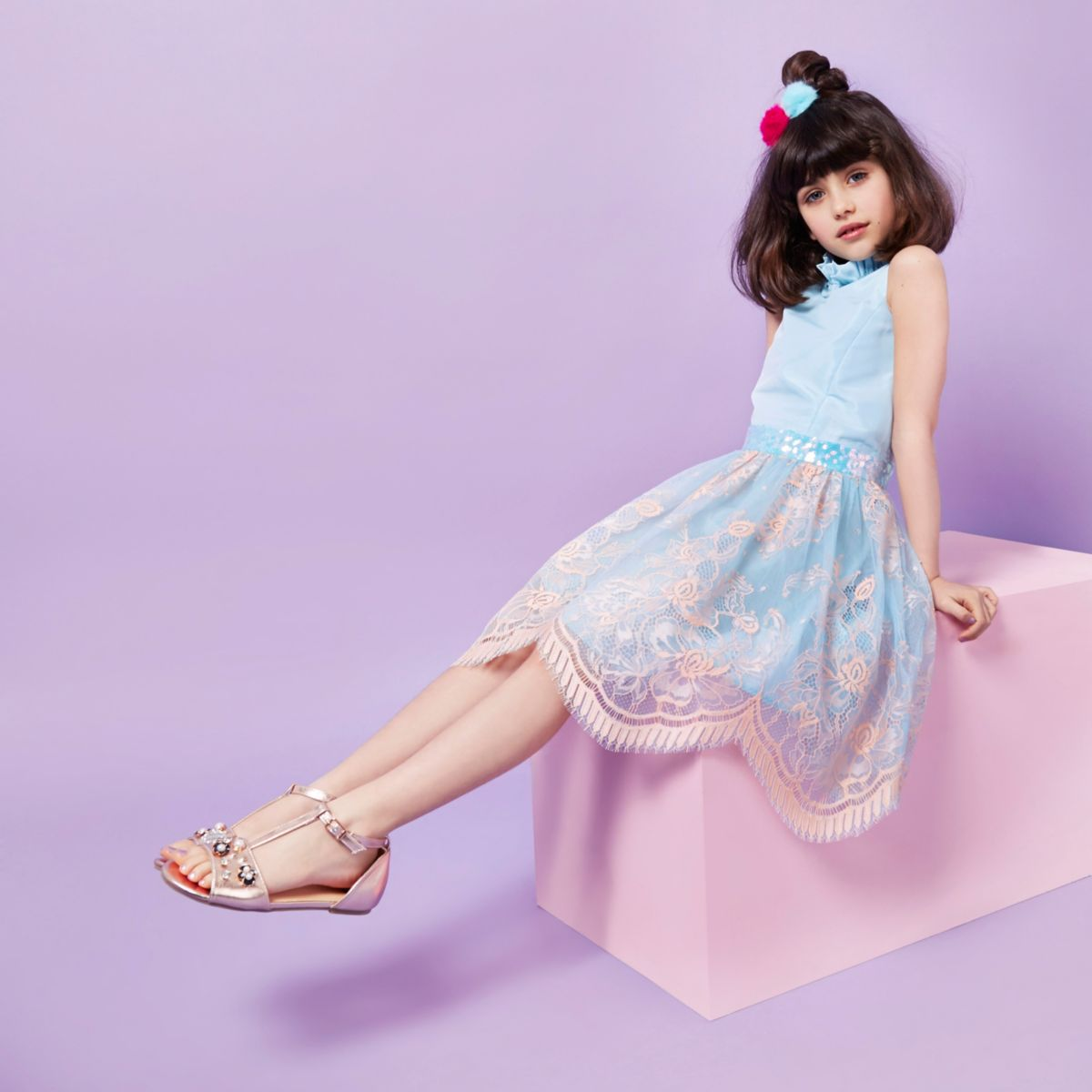 Girls RI Studio blue and pink lace dress