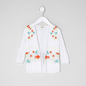 Mini girls cream embroidered mesh kimono
