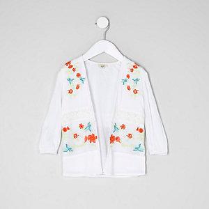 Kimono en tulle crème brodé mini fille