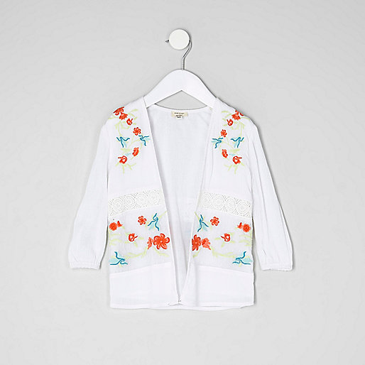 Mini girls cream embroidered mesh kimono