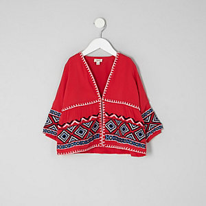 Mini girls red aztec embroidered kimono