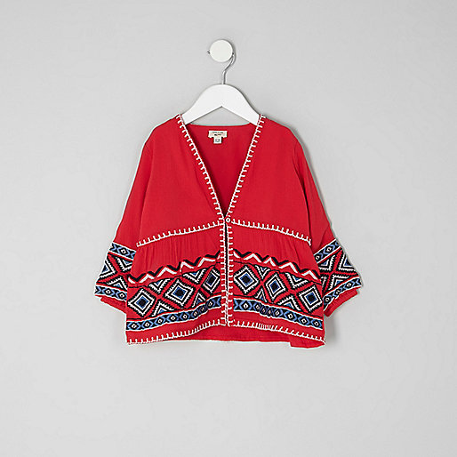 Mini girls red aztec embroidered kimono