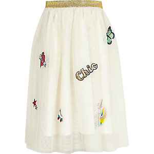 Girls whtie mesh badged midi skirt