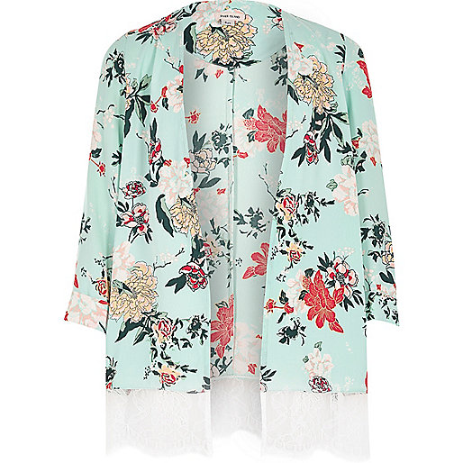 Girls light green floral duster jacket