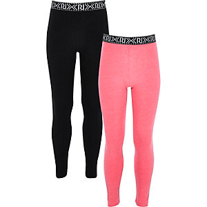 Girls pink and black leggings two pack