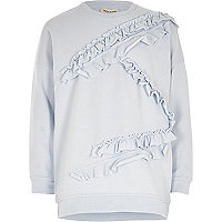 Girls light blue frill sweatshirt