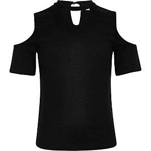 Girls black cold shoulder choker top