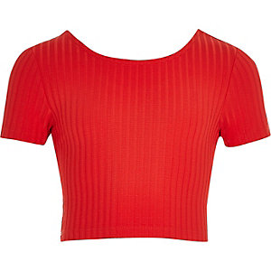 Girls red ribbed scoop neck crop top