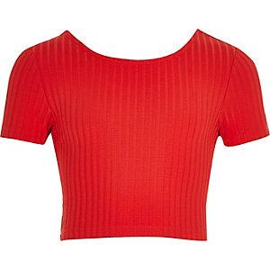 Girls red ribbed scoop neck crop top