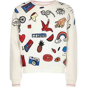 Weißes Sweatshirt mit grafischem Muster