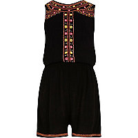 Girls black embellished sleeveless playsuit