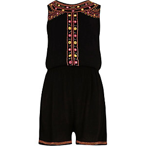 Girls black embellished sleeveless romper