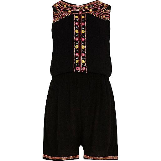 Girls black embellished sleeveless playsuit