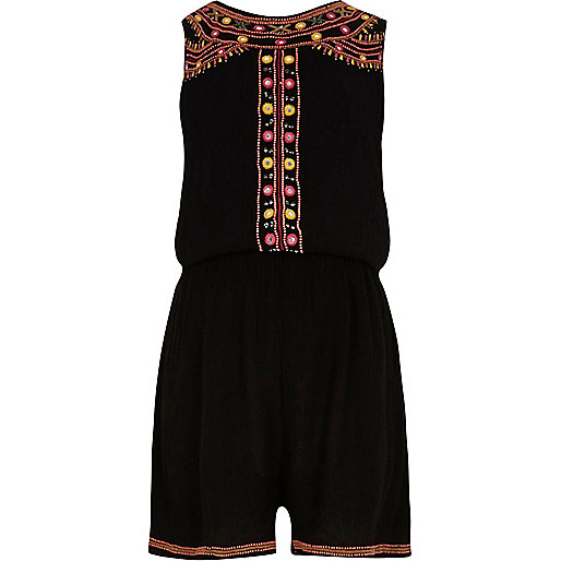Girls black embellished sleeveless romper