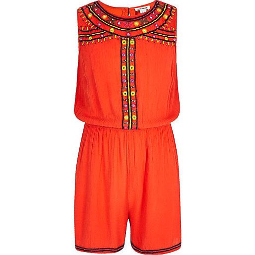 Girls orange embellished sleeveless romper