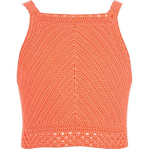 Girls coral crochet crop top