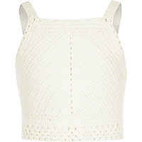 Girls white crochet sleeveless crop top
