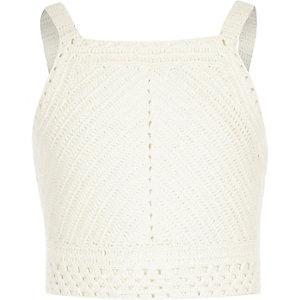 Girls white crochet sleeveless crop top