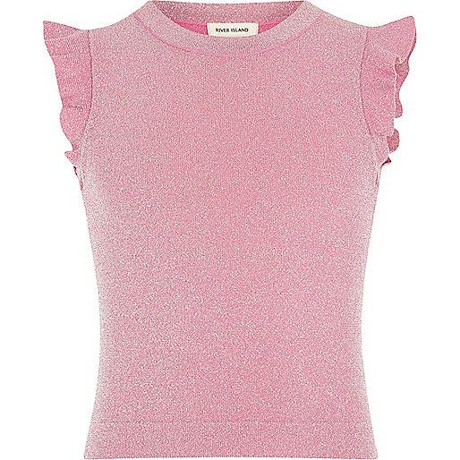 Girls pink frill sleeve top