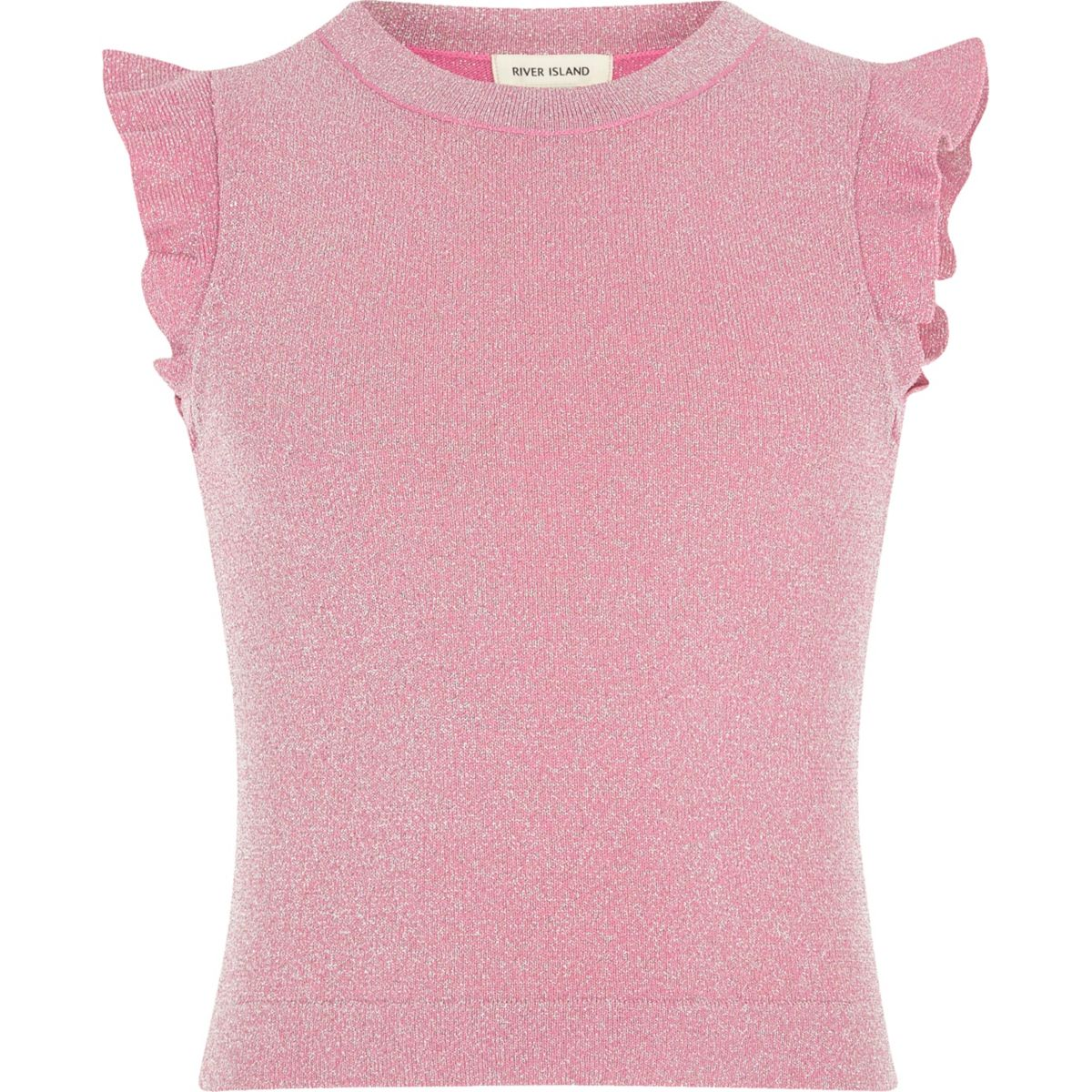 Girls pink frill sleeve top