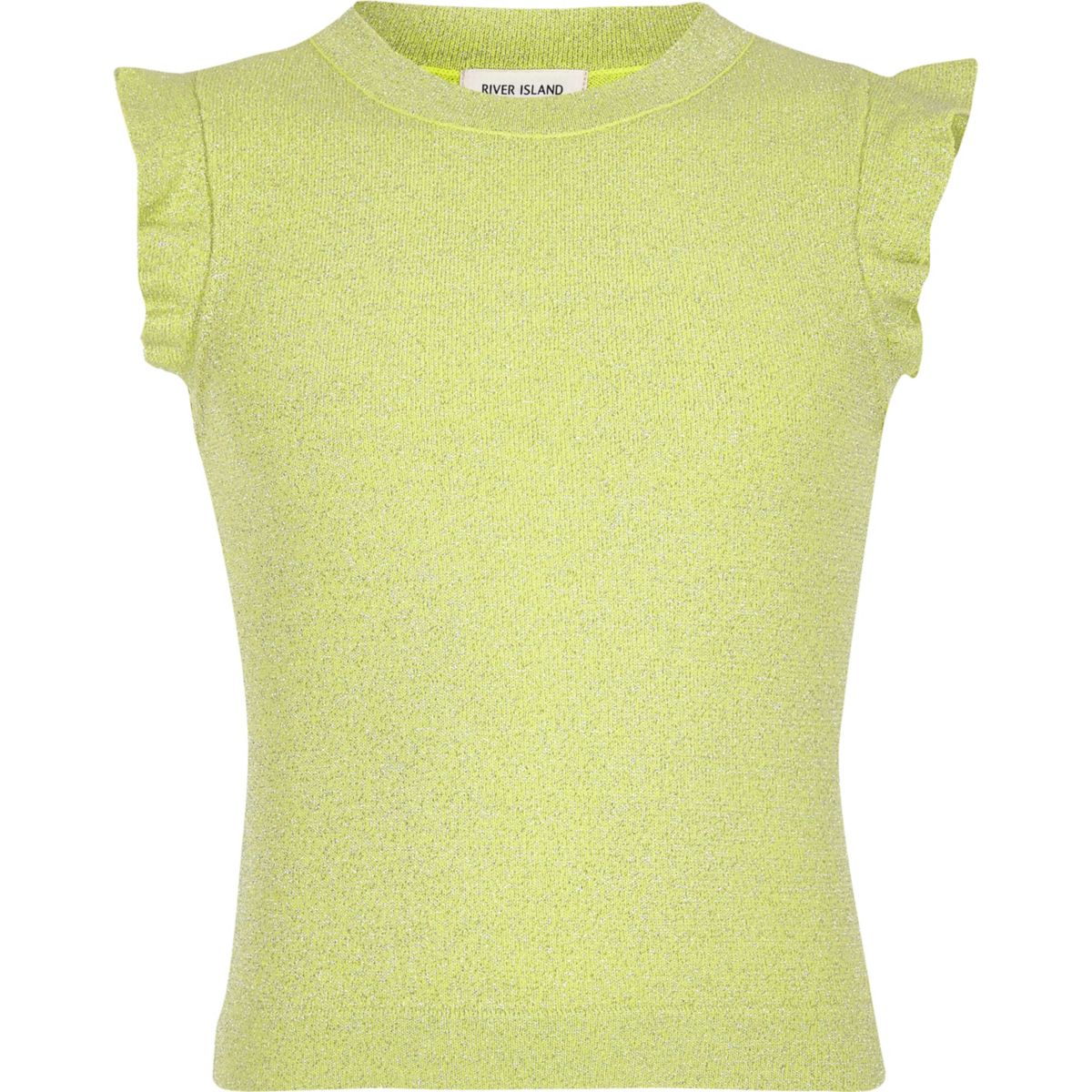 Girls lime green frill sleeve top