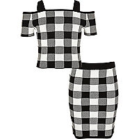 Girls black gingham print bardot top outfit