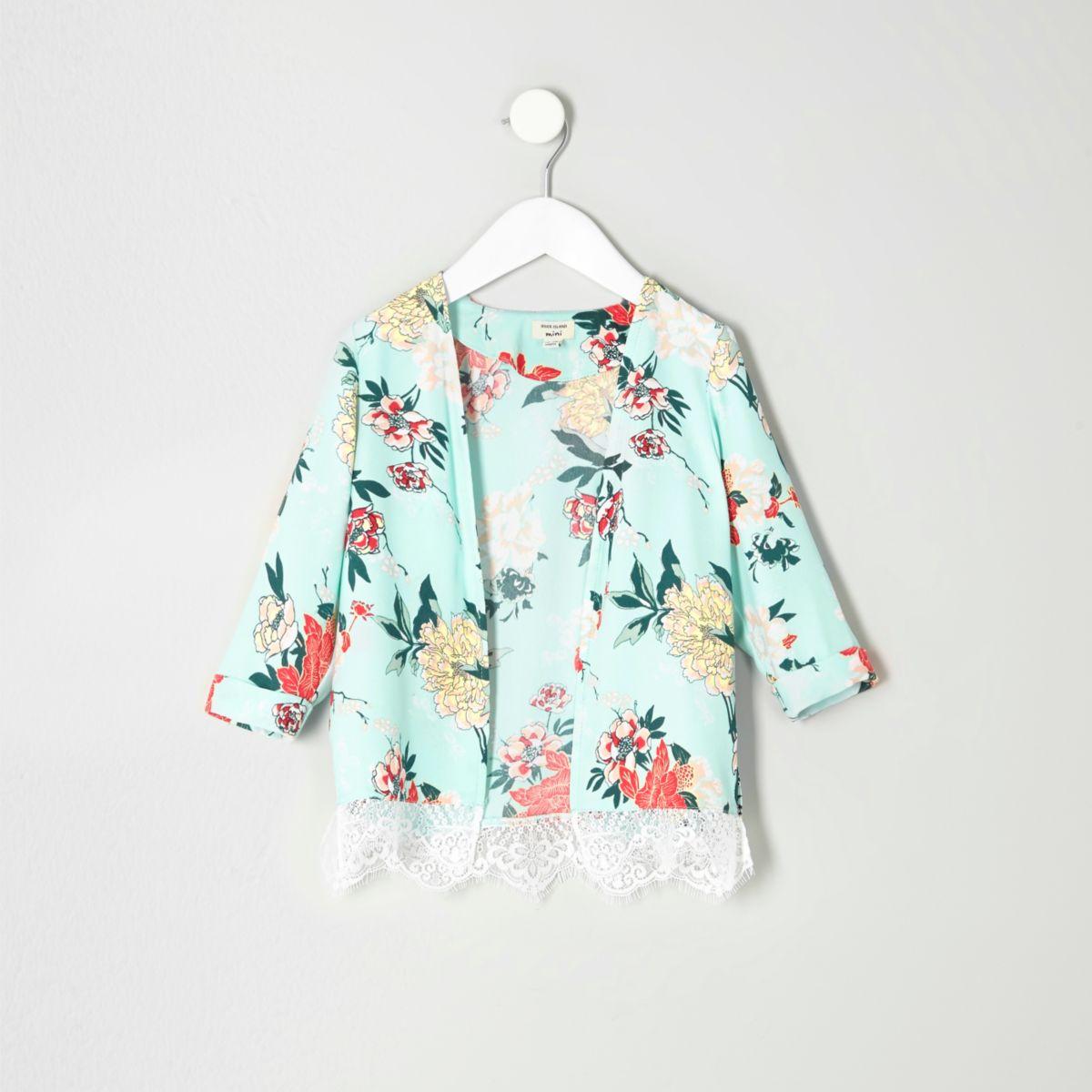 Mini girls light green floral duster jacket