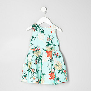 Mini girls light green floral prom dress