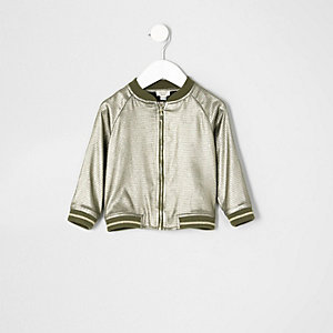 Mini girls khaki metallic bomber jacket