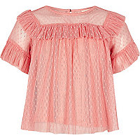 Girls coral pink mesh frill top