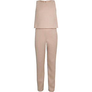 Girls pink layered contrast piping jumpsuit