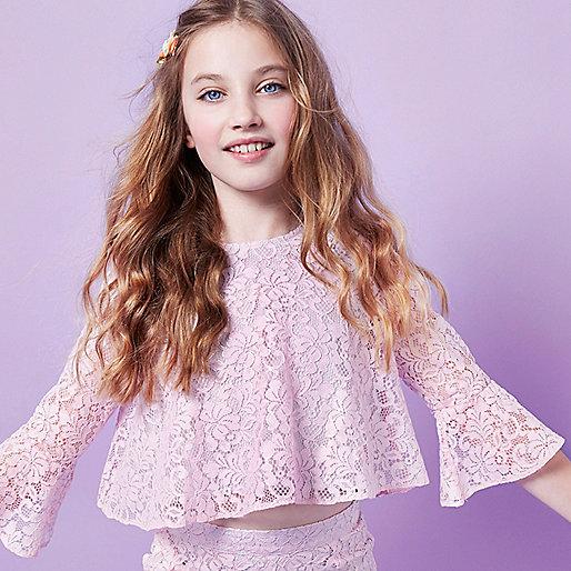Girls RI Studio pink lace frill hem crop top