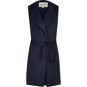 Girls navy blue sleeveless duster jacket