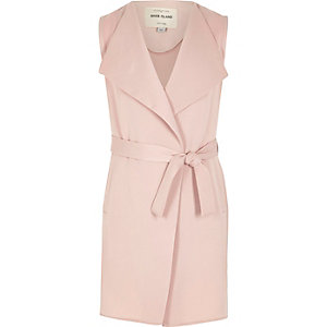 Girls pink sleeveless duster coat