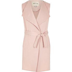 Manteau long rose sans manches pour fille