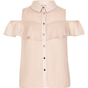 Girls pink glitter frill cold shoulder shirt