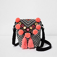 Girls black and white mirrored pom pom bag