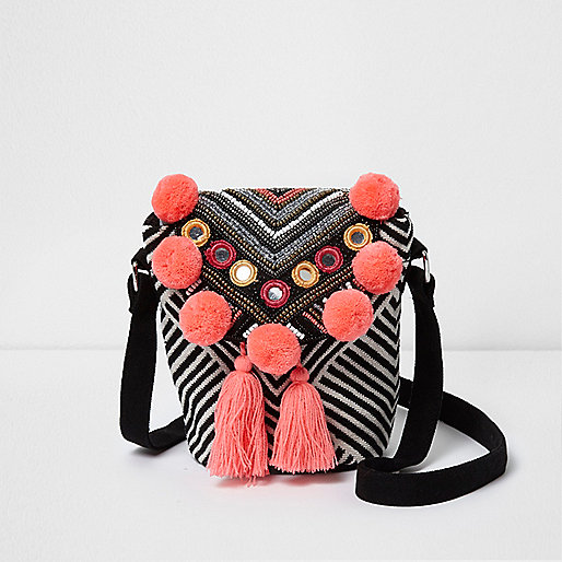 Girls black and white mirrored pom pom bag
