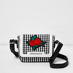Girls black and white gingham cross body bag