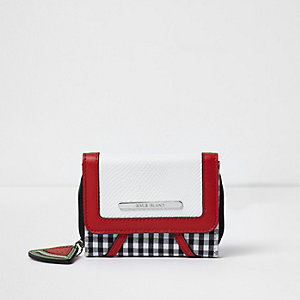 Girls white and red small gingham purse